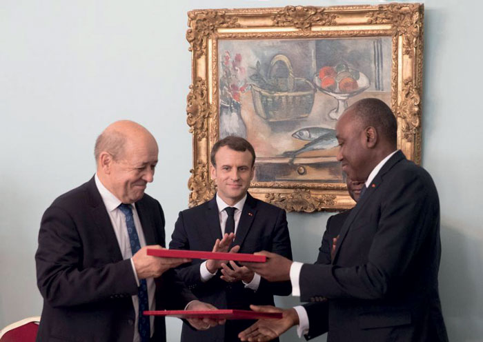 Côte d'Ivoire and France remain strong partners. On 30 November 2017, on the sidelines of the 5th AU-EU Summit, French Minister of Europe and Foreign Affairs, Jean-Yves Le Drian, and Ivorian Prime Minister Amadou Gon Coulibaly, signed two debt-reducing and development contracts (C2D).